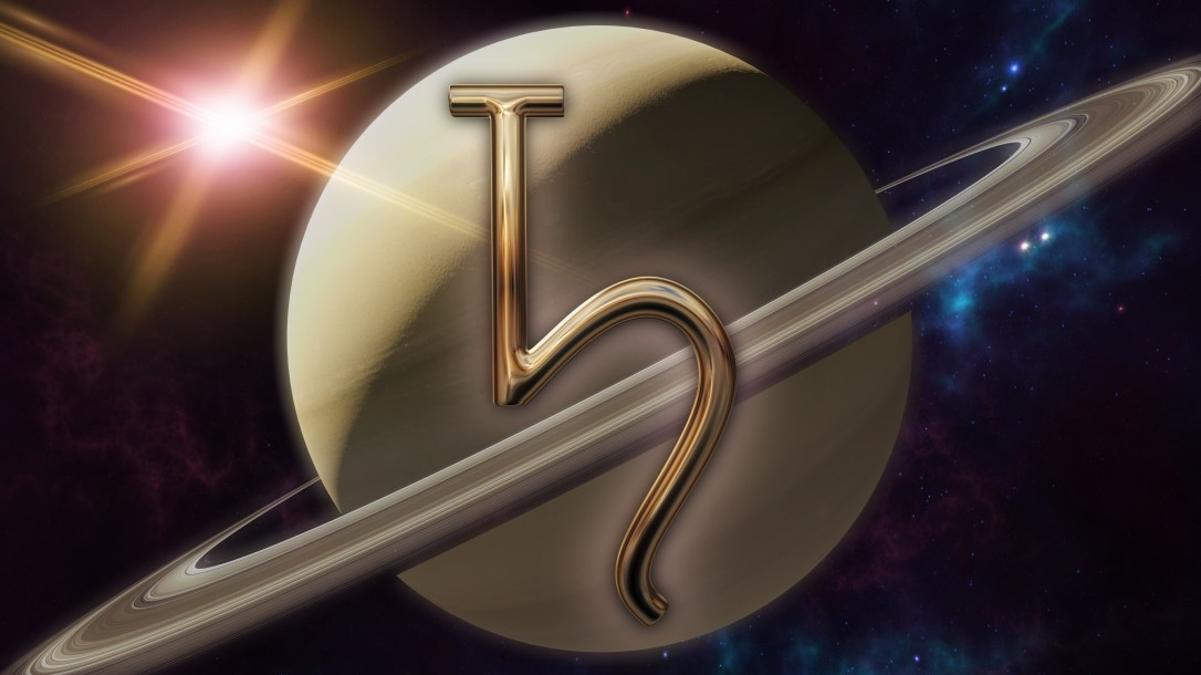 Saturn zodiac horoscope symbol and planet. 3D rendering